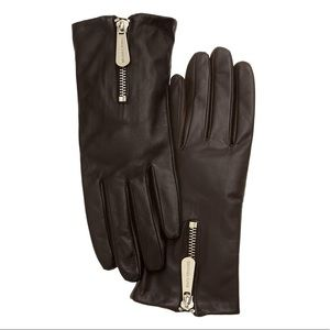 NWT Michael Kors Genuine Leather Gloves Zipper
